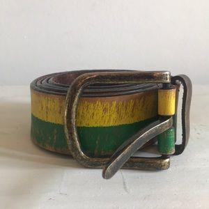 Obey Giant Leather Multicolor Rasta Stripe Belt